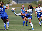 BROOKINGS, SD - SEPTEMBER 4:  Bianca Madonia #24 from South Dakota State controls the ball in front of Caeley Lordemann #14 from Creighton during their match Sunday afternoon at Fischback Soccer Complex in Brookings. (Photo by Dave Eggen/Inertia)