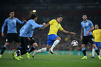 Roberto Firmino of Brazil and Liverpool in action during Brazil vs Uruguay, International Friendly Match Football at the Emirates Stadium on 16th November 2018