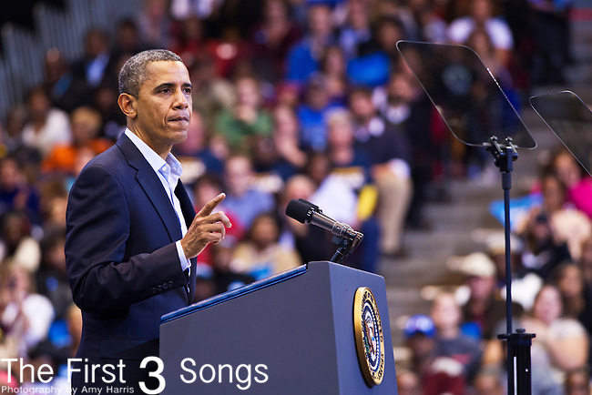 President Barack  Obama campaigns during a grassroots rally at Fifth Third Arena in Cincinnati, Ohio.