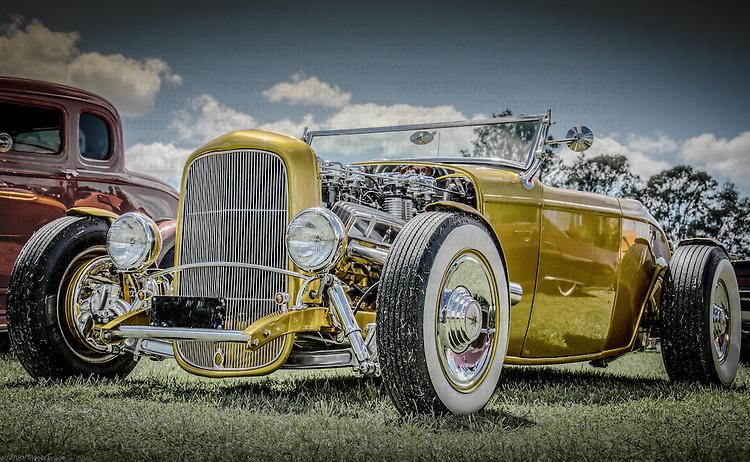 Vintage retro classic car in yellow