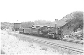 Panoramic view of southbound Chilii Line train #425 and K-28 #473 at Embudo.<br /> D&amp;RGW  Embudo, NM  Taken by Richardson, Robert W. - 7/2/1941