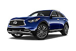 Stock pictures of low aggressive front three quarter view of 2017 Infiniti QX70 3.7 5 Door SUV Low Aggressive