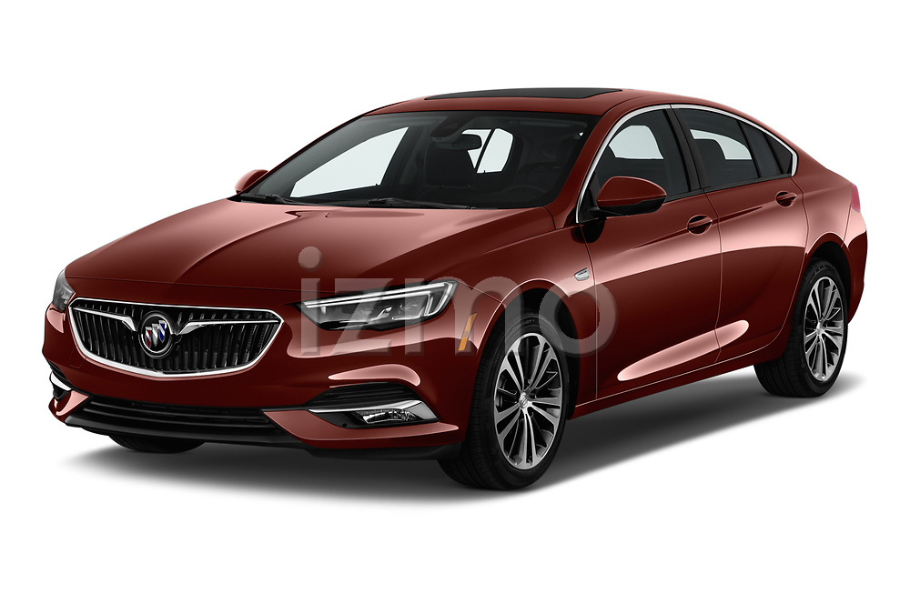 2019 Buick Regal-Sportback Essence 5 Door Hatchback angular front stock photos of front three quarter view