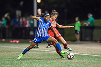 Boston, MA - Sunday September 10, 2017: Margaret Purce and Nadia Nadim during a regular season National Women's Soccer League (NWSL) match between the Boston Breakers and Portland Thorns FC at Jordan Field.