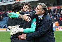 Blackburn Rovers Manager Tony Mowbray, Blackburn Rovers' David Raya and Blackburn Rovers' Danny Graham at the end of the game<br /> <br /> Photographer Rachel Holborn/CameraSport<br /> <br /> The EFL Sky Bet League One - Blackburn Rovers v Southend United - Saturday 7th April 2018 - Ewood Park - Blackburn<br /> <br /> World Copyright &copy; 2018 CameraSport. All rights reserved. 43 Linden Ave. Countesthorpe. Leicester. England. LE8 5PG - Tel: +44 (0) 116 277 4147 - admin@camerasport.com - www.camerasport.com
