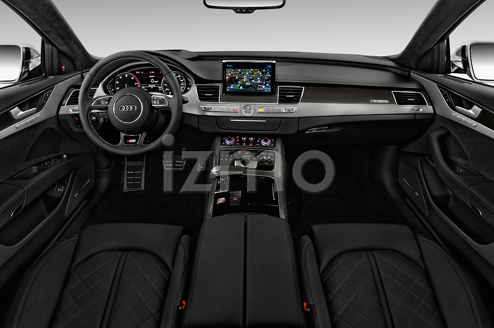 Stock photo of straight dashboard view of 2016 Audi S8 4.0-TFSI-quattro-Tiptronic-Plus  4 Door Sedan