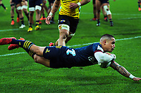 Aaron Smith scores during the Super Rugby Aotearoa match between the Hurricanes and Highlanders at Sky Stadium in Wellington, New Zealand on Sunday, 12 July 2020. Photo: Dave Lintott / lintottphoto.co.nz