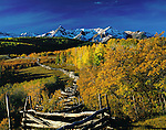 Sneffels Range and wood fence with Aspen trees, Telluride, Colorado, USA. John offers autumn photo tours throughout Colorado.