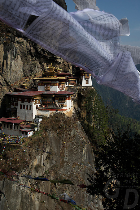 Taktsang Monastery or the Tigers Nest near Paro, Bhutan at 3200 meters.
