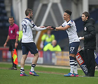 Preston North End's Tom Barkuizen is replaced by  Callum Robinson<br /> <br /> Photographer Mick Walker/CameraSport<br /> <br /> The EFL Sky Bet Championship - Preston North End v Reading - Saturday 11th March 2017 - Deepdale - Preston<br /> <br /> World Copyright &copy; 2017 CameraSport. All rights reserved. 43 Linden Ave. Countesthorpe. Leicester. England. LE8 5PG - Tel: +44 (0) 116 277 4147 - admin@camerasport.com - www.camerasport.com