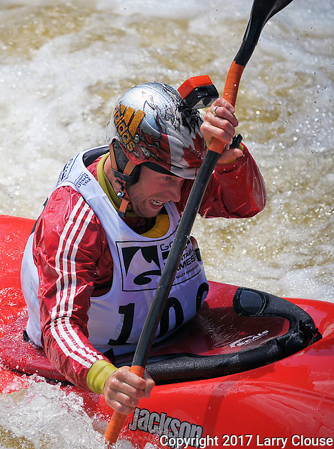 June 8, 2017 - Vail, Colorado, U.S. -  Canada's, Nick Troutman, works for every second on Homestake Creek's difficult course in the Steep Creek competition during the GoPro Mountain Games, Vail, Colorado.  Adventure athletes from around the world meet in Vail, Colorado, June 8-11, for America's largest celebration of mountain sports, music, and lifestyle.