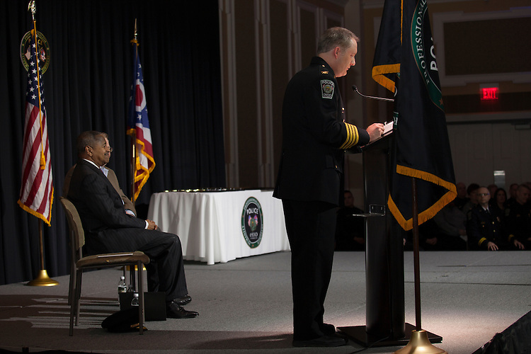 Ohio University police chief Andrew Powers speaks at the Badge Pinning and Employee Recognition Ceremony on Monday, February 8, 2016. Photo by Kaitlin Owens