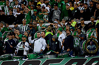 MEDELLÍN - COLOMBIA - 28 - 03 - 2018: Hinchas de Atletico Nacional, animan a su equipo, durante partido de la fecha 11 entre Atletico Nacional y Atletico Huila, por la Liga Águila I 2018, jugado en el estadio Atanasio Girardot de la ciudad de Medellín. / Fans of Atletico Nacional, cheer for their team, during a match of the 11th date between Atletico Nacional and Atletico Huila for the Aguila League I 2018, played at Atanasio Girardot stadium in Medellin city. Photo: VizzorImage / León Monsalve / Cont.