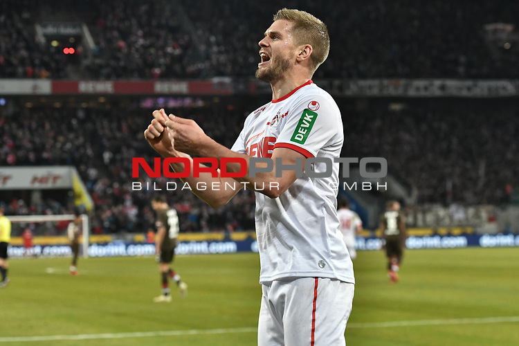 08.02.2019, Rheinenergiestadion, K&ouml;ln, GER, DFL, 2. BL, VfL 1. FC Koeln vs FC St. Pauli, DFL regulations prohibit any use of photographs as image sequences and/or quasi-video<br /> <br /> im Bild Simon Terodde (#9, 1.FC K&ouml;ln / Koeln)  jubelt nach seinem Tor zum 4:1<br /> <br /> Foto &copy; nph/Mauelshagen