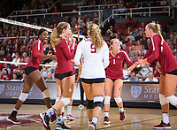 STANFORD, CA - September 9, 2018: Meghan McClure, Morgan Hentz, Tami Alade, Jenna Gray, Kathryn Plummer at Maples Pavilion. The Stanford Cardinal defeated #1 ranked Minnesota 3-1 in the Big Ten / PAC-12 Challenge.