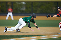 Jake Mueller (6) of the Wake Forest Demon Deacons dives head first back towards first base during the game against the Louisville Cardinals at David F. Couch Ballpark on March 17, 2018 in  Winston-Salem, North Carolina.  The Cardinals defeated the Demon Deacons 11-6.  (Brian Westerholt/Four Seam Images)