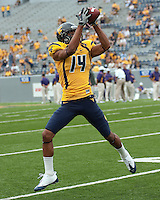 Bradley Starks warming up before the game. The WVU Mountaineers defeated the East Carolina Pirates 35-20 at Mountaineer Field at Milan Puskar Stadium, Morgantown, West Virginia on September 12, 2009.