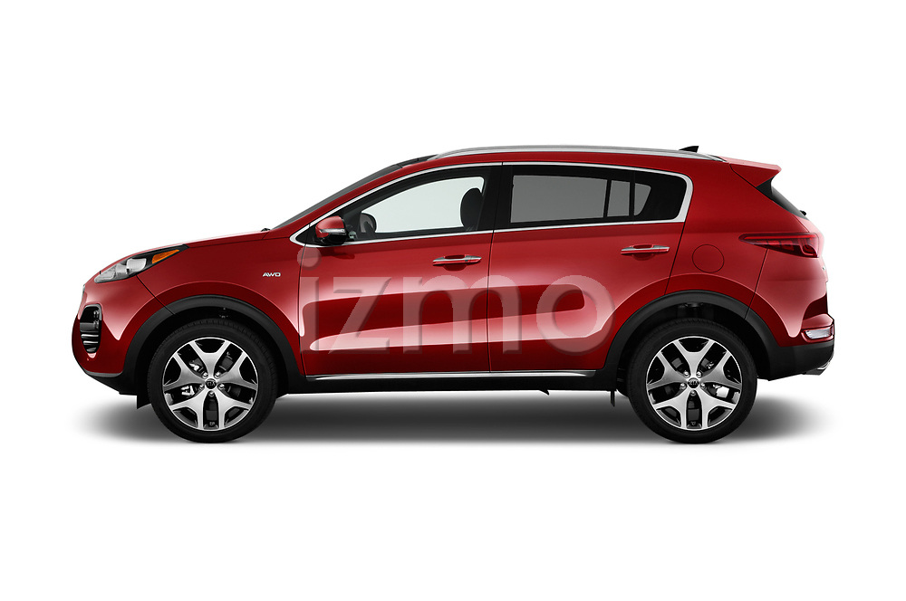 Car driver side profile view of a 2019 KIA Sportage SX Turbo 5 Door SUV