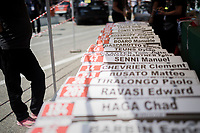 teamcar nameplates at the ready for the closing iTT towards Milano<br /> <br /> stage 21: Monza - Milano (29km)<br /> 100th Giro d'Italia 2017