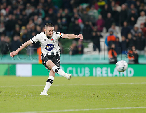 3rd November 2019; Aviva Stadium, Dublin, Leinster, Ireland; FAI Cup Final Football, Dundalk Football Club versus Shamrock Rovers; Michael Duffy sees his penalty rebound off the crossbar during the shoot out - Editorial Use