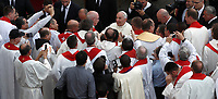 Papa Francesco saluta alcuni preti al termine della Santa Messa della Solennità dei Santi Pietro e Paolo in piazza San Pietro, Citta' del Vaticano, 29 giugno, 2017.<br /> Pope Francis greats some priests at the end of the mass for the imposition of the Pallium upon the new metropolitan archbishops and the solemnity of Saints Peter and Paul in St. Peter's Square at the Vatican, on June 29, 2017.<br /> UPDATE IMAGES PRESS/Isabella Bonotto<br /> <br /> STRICTLY ONLY FOR EDITORIAL USE