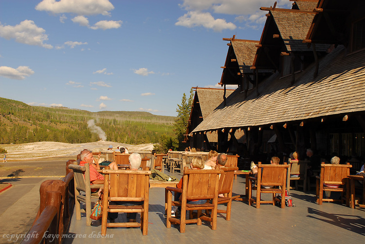 Old Faithful Inn was first opened to the public in 1904. Robert Reamer was the architect who created this unique building design, making the building out of local materials of lodge pole pine and rhyolite stone.