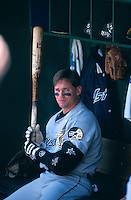 SAN FRANCISCO, CA - Craig Biggio of the Houston Astros sits in the dugout during a game against the San Francisco Giants at Candlestick Park in San Francisco, California in 1999. Photo by Brad Mangin