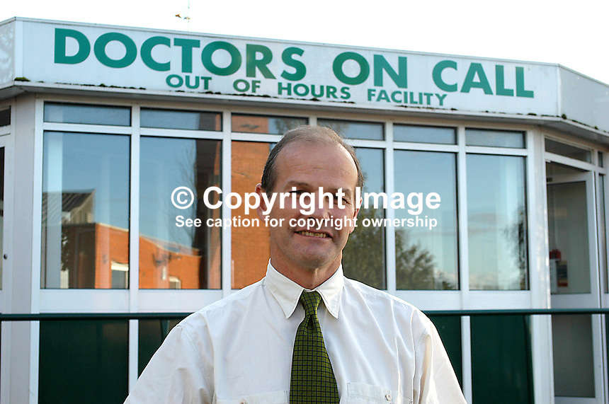 Dr Brian Good, Moylin Out of Hours Surgery, Craigavon, N Ireland. Ref: 200210030886...Copyright Image from Victor Patterson, 54 Dorchester Park, Belfast, UK, BT9 6RJ..Tel: +44 28 9066 1296.Mob: +44 7802 353836.Voicemail +44 20 8816 7153.Skype: victorpattersonbelfast.Email: victorpatterson@mac.com.Email: victorpatterson@ireland.com (back-up)..IMPORTANT: If you wish to use this image or any other of my images please go to www.victorpatterson.com and click on the Terms & Conditions. Then contact me by email or phone with the reference number(s) of the image(s) concerned.