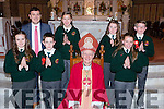 Scartaglen NS pupils with Bishop Ray Browne and Principal Paul Moroney at their Confirmation in St Stephen and John church Castleisland on Tuesday