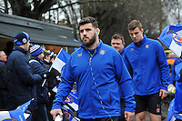 Rob Webber and the rest of the Bath Rugby team make their way to the changing rooms. Aviva Premiership match, between Bath Rugby and Wasps on February 20, 2016 at the Recreation Ground in Bath, England. Photo by: Patrick Khachfe / Onside Images