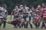Jamie Metcalfe steps out of the Patrick Boardman tackle. Counties Manukau Premier rugby game between Karaka & Manurewa played at the Karaka Domain on July 5th 2008..Karaka won 22 - 12.