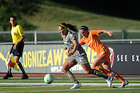 Holmfridur Magnusdottir (26) of the Philadelphia Independence is chased by Meghan Schnur (7) of Sky Blue FC. The Philadelphia Independence defeated Sky Blue FC 2-1 during a Women's Professional Soccer (WPS) match at John A. Farrell Stadium in West Chester, PA, on June 6, 2010.