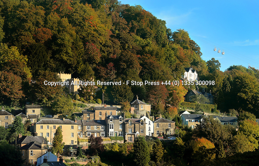 06/010/13<br /> <br /> Early morning sunshine illuminates the autumn colour in the trees at Matlock Bath in the Derbyshire Peak District.<br /> <br /> All Rights Reserved - F Stop Press +44 (0) 1335 300098