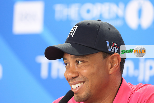 Tiger Woods (USA) speaking to the media at The 142th Open Championship Muirfield, Gullane, East Lothian, Scotland 16/7/2013<br /> Picture Fran Caffrey www.golffile.ie: