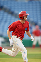 Clearwater Threshers center fielder Adam Haseley (17) runs to first base during a game against the Jupiter Hammerheads on April 9, 2018 at Spectrum Field in Clearwater, Florida.  Jupiter defeated Clearwater 9-4.  (Mike Janes/Four Seam Images)