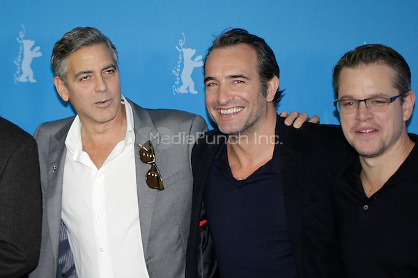 "John Goodman, George Clooney, Jean Dujardin and Matt Damon at the photocall of the movie ""The Monuments Men"" in Berlin. Credit: Bertani/facetoface/ MediaPunch ***USA ONLY***"