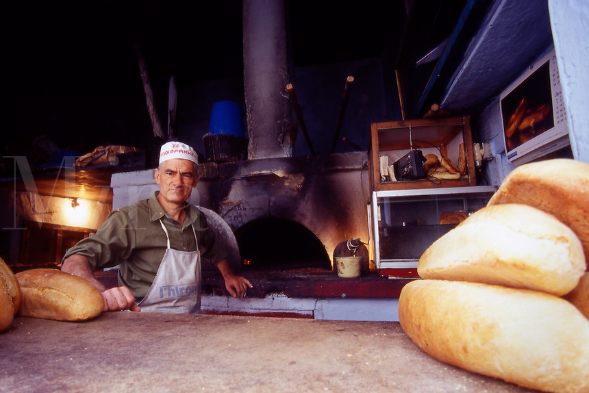 Greece. West Lesvos. The Baker in Vatoussa Village.
