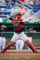 Lowell Spinners catcher Kole Cottam (39) warmup throw down to second base in between innings during a game against the Batavia Muckdogs on July 14, 2018 at Dwyer Stadium in Batavia, New York.  Lowell defeated Batavia 8-4.  (Mike Janes/Four Seam Images)
