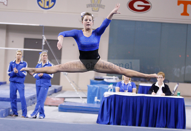 Sophomore Audrey Harrison performs her floor routine during the University of Kentucky gymnastics meet against the University of Alabama, in Memorial Coliseum, on Friday, Feb. 10, 2012. Photo by Latara Appleby | Staff ..