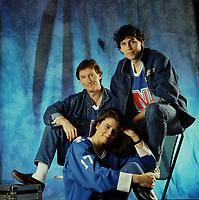 Portrait exclusif des acteurs principaux de la serie LANCE ET COMPTE en 1986<br /> <br /> Marc Messier, Carl Marotte et<br /> Marina Orsini<br /> <br /> PHOTO : Harold Beaulieu -  Agence Quebec Presse