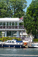 Henley on Thames. United Kingdom.   Union Jack, flying over the Phyllis Court Club  Grandstand, Thursday  17/05/2018<br /> <br /> [Mandatory Credit: Peter SPURRIER:Intersport Images]<br /> <br /> LEICA CAMERA AG  LEICA Q (Typ 116)  f5  1/1000sec  35mm  42.5MB