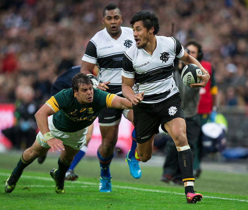 Melani Nanai of the Barbarians in action Photographer Craig Mercer/CameraSport<br /> <br /> International Rugby Union Friendly - Barbarians v South Africa - Saturday 5th November 2016 - Wembley Stadium - London<br /> <br /> World Copyright &copy; 2016 CameraSport. All rights reserved. 43 Linden Ave. Countesthorpe. Leicester. England. LE8 5PG - Tel: +44 (0) 116 277 4147 - admin@camerasport.com - www.camerasport.com