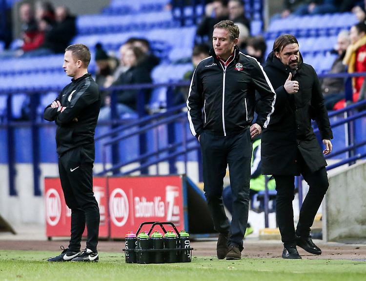 Bolton Wanderers' manager Phil Parkinson can't hide his disappointment whilst Norwich City's manager Daniel Farke shows the thumbs up sign<br /> <br /> Photographer Andrew Kearns/CameraSport<br /> <br /> The EFL Sky Bet Championship - Bolton Wanderers v Norwich City - Saturday 16th February 2019 - University of Bolton Stadium - Bolton<br /> <br /> World Copyright © 2019 CameraSport. All rights reserved. 43 Linden Ave. Countesthorpe. Leicester. England. LE8 5PG - Tel: +44 (0) 116 277 4147 - admin@camerasport.com - www.camerasport.com