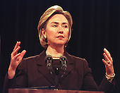 Washington, DC - May 18, 1999 -- First Lady Hillary Rodham Clinton speaks to reporters about her trip to the refugee camps in Macedonia at the White House in Washington, D.C. on May 18, 1999..Credit: Ron Sachs / CNP
