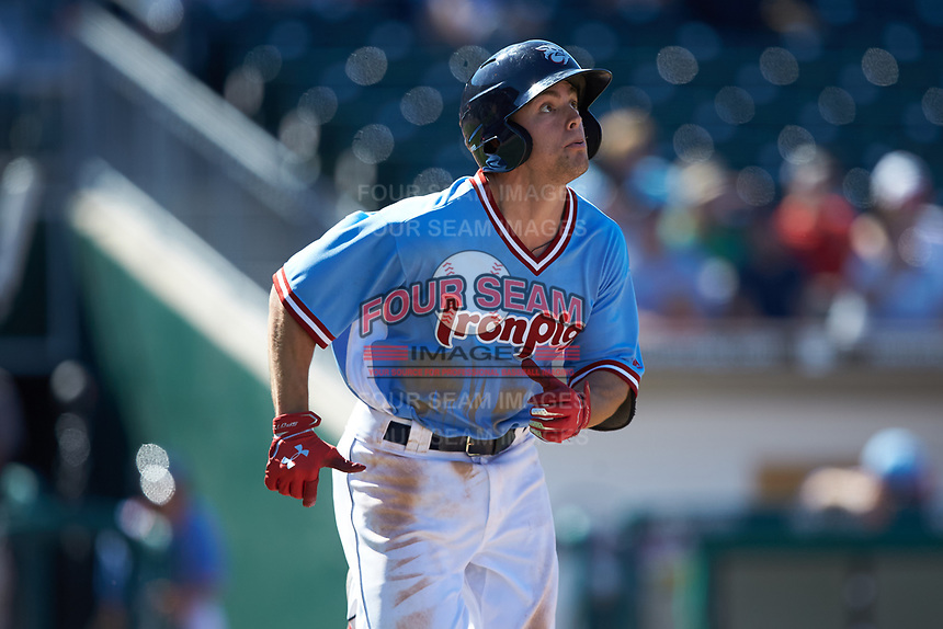 Scott Kingery (11) of the Lehigh Valley Iron Pigs hustles down the first base line during the game against the Durham Bulls at Coca-Cola Park on July 30, 2017 in Allentown, Pennsylvania.  The Bulls defeated the IronPigs 8-2.  (Brian Westerholt/Four Seam Images)