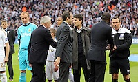 Pictured:  Swansea team players and manager Michael Laudrup greeting the Dignitaries. Sunday 24 February 2013<br />