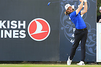 Tommy Fleetwood (ENG) tees off the 18th tee during Sunday's Final Round of the 2018 Turkish Airlines Open hosted by Regnum Carya Golf &amp; Spa Resort, Antalya, Turkey. 4th November 2018.<br /> Picture: Eoin Clarke | Golffile<br /> <br /> <br /> All photos usage must carry mandatory copyright credit (&copy; Golffile | Eoin Clarke)