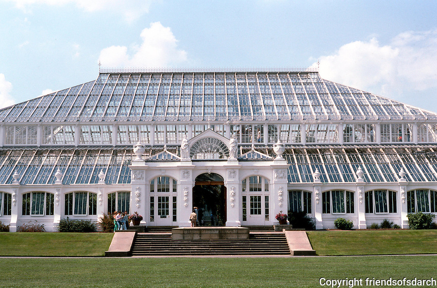 London: Kew Gardens, Temperate House--elevation. 1862-98. Decimus Burton & Richard Turner, Architect of the earlier and more famous Palm House--1844-48.