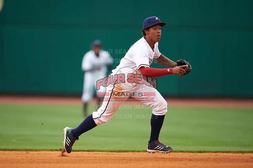 NW Arkansas shortstop Raul Mondesi (2) during a game against the San Antonio Missions on May 30, 2015 at Arvest Ballpark in Springdale, Arkansas.  San Antonio defeated NW Arkansas 5-1.  (Mike Janes/Four Seam Images)