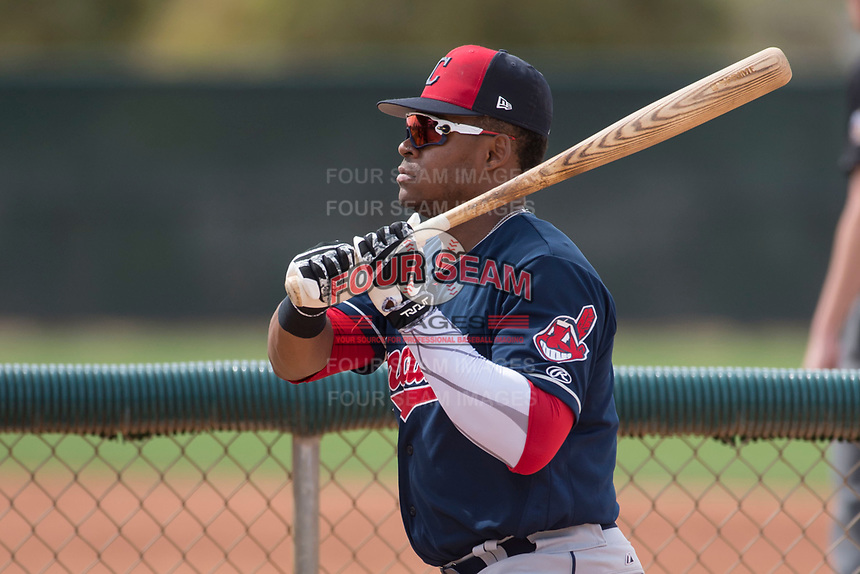 Cleveland Indians center fielder Hosea Nelson (16) during a Minor League Spring Training game against the Chicago White Sox at Camelback Ranch on March 16, 2018 in Glendale, Arizona. (Zachary Lucy/Four Seam Images)